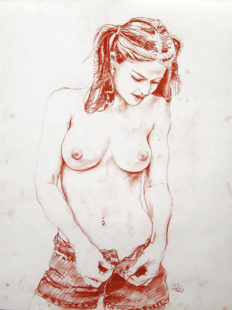 Very old erotic pencil drawing signed egon shiele expressionist style